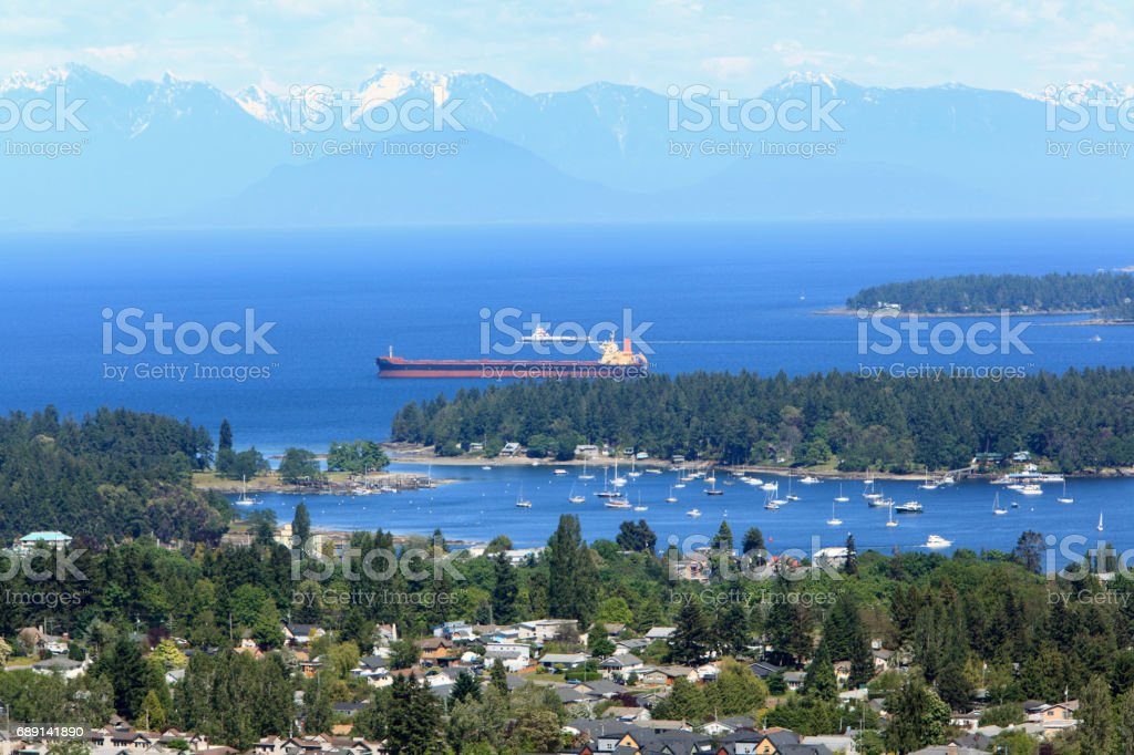 Stunning High Angle View Of Nanaimo Waterways And Yachts stock photo