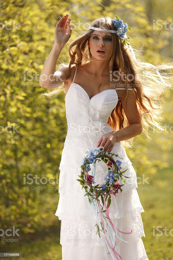 Stunning hippie bride royalty-free stock photo