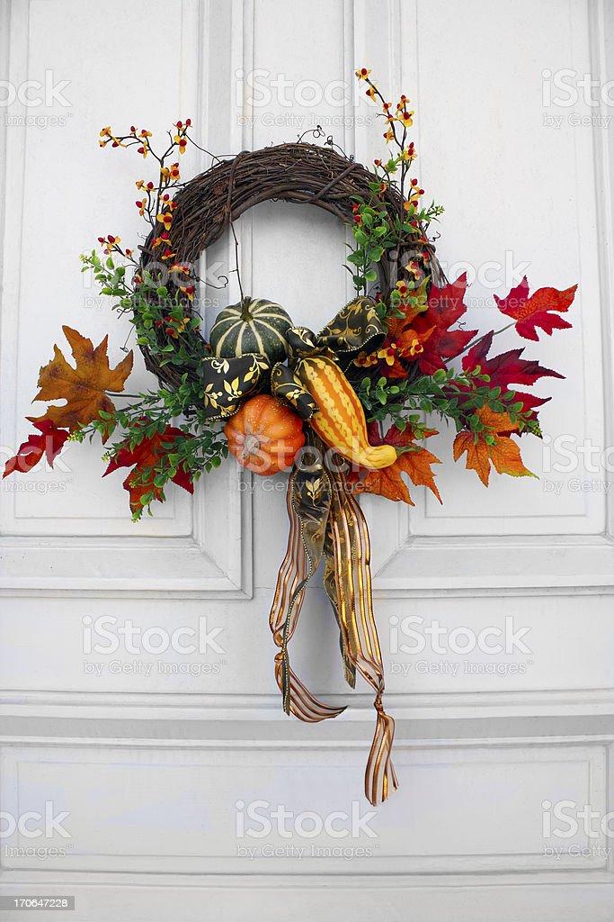 A stunning hung up autumn wreath stock photo