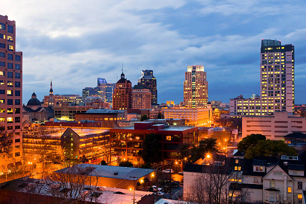 A stunning image of Sacramento in the evening stock photo