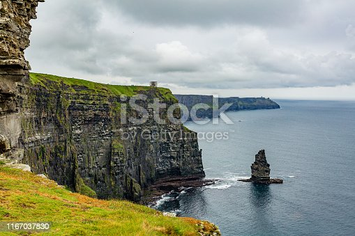 Stunning Irish landscape of the Cliffs of Moher and the Branaunmore sea stack, geosites and geopark, Wild Atlantic Way, wonderful cloudy spring day in County Clare in Ireland
