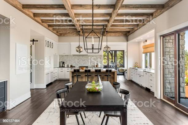 Stunning kitchen and dining room in new luxury home wood beams and picture id950127464?b=1&k=6&m=950127464&s=612x612&h=hirstshnzvfognft3iel4fk6lex gms97xyjq64hcoo=