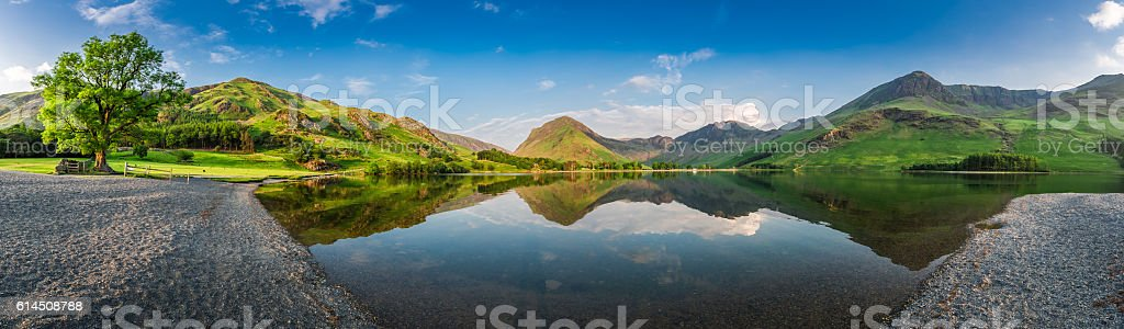 Stunning lake panorama in District Lake at dusk, England stock photo