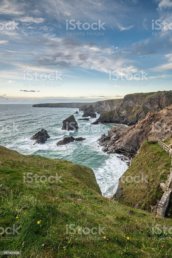 Stunning landcape image of Bedruthan Steps on Cornwall coast in stock photo