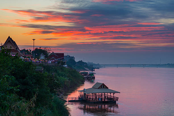 stunning landscape at nong khai on the mekong river, thailand - mekong river stock pictures, royalty-free photos & images