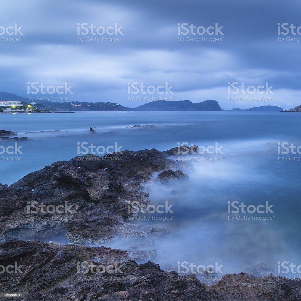 Stunning landscape at twilight dawn with rocky coastline Mediterranean Sea royalty-free stock photo