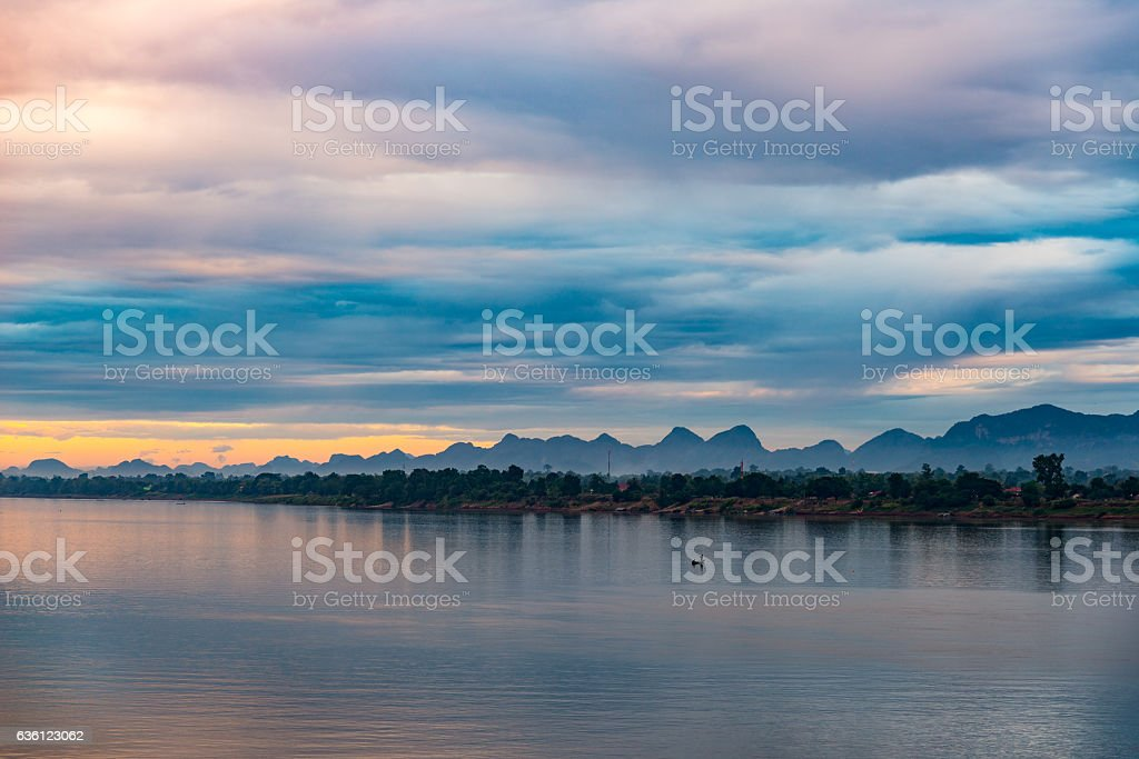 Stunning landscape in Lao PDR on the Mekong river bank stock photo