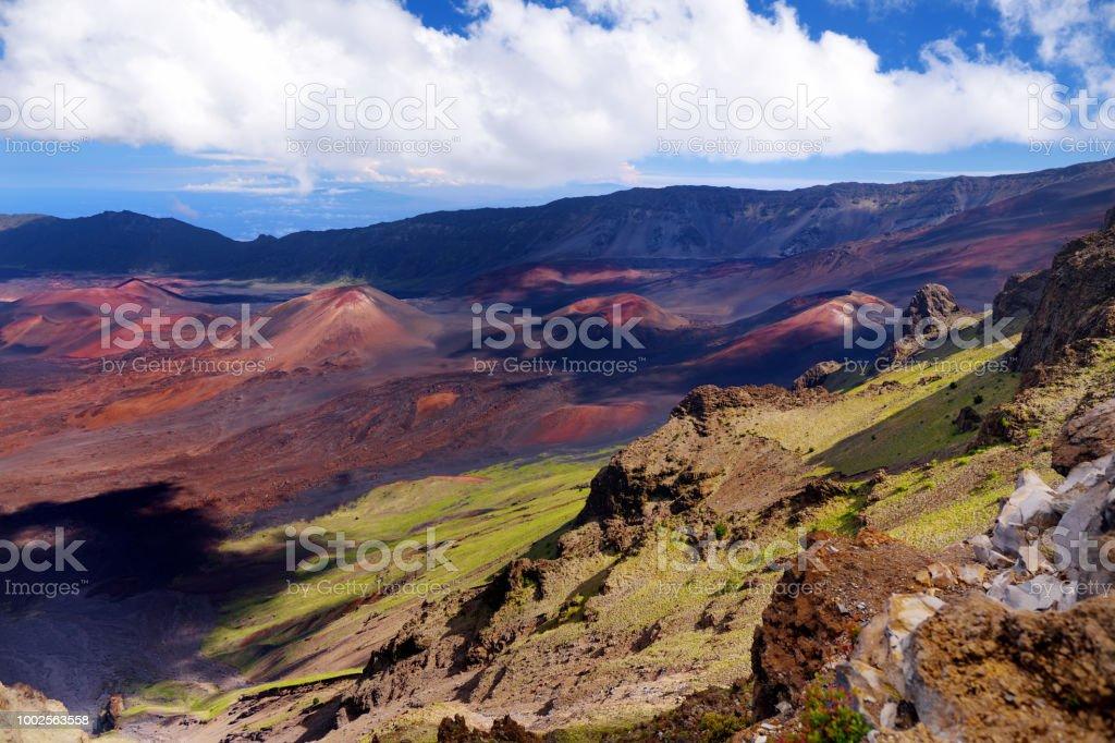 Stunning landscape of Haleakala volcano crater taken at Kalahaku overlook at Haleakala summit. Maui, Hawaii stock photo