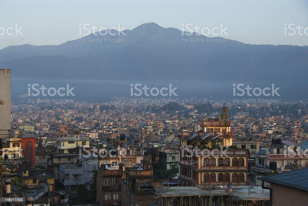 Stunning landscape of Kathmandu and surrounding mountains stock photo