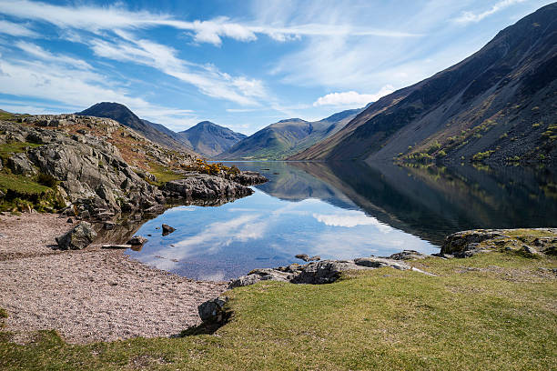stunning landscape of wast water and lake district peaks - cumbria stock photos and pictures