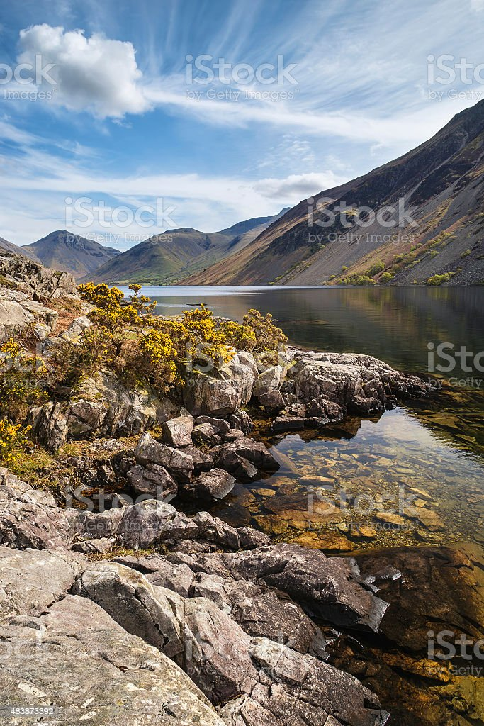 Stunning landscape of Wast Water and Lake District Peaks stock photo
