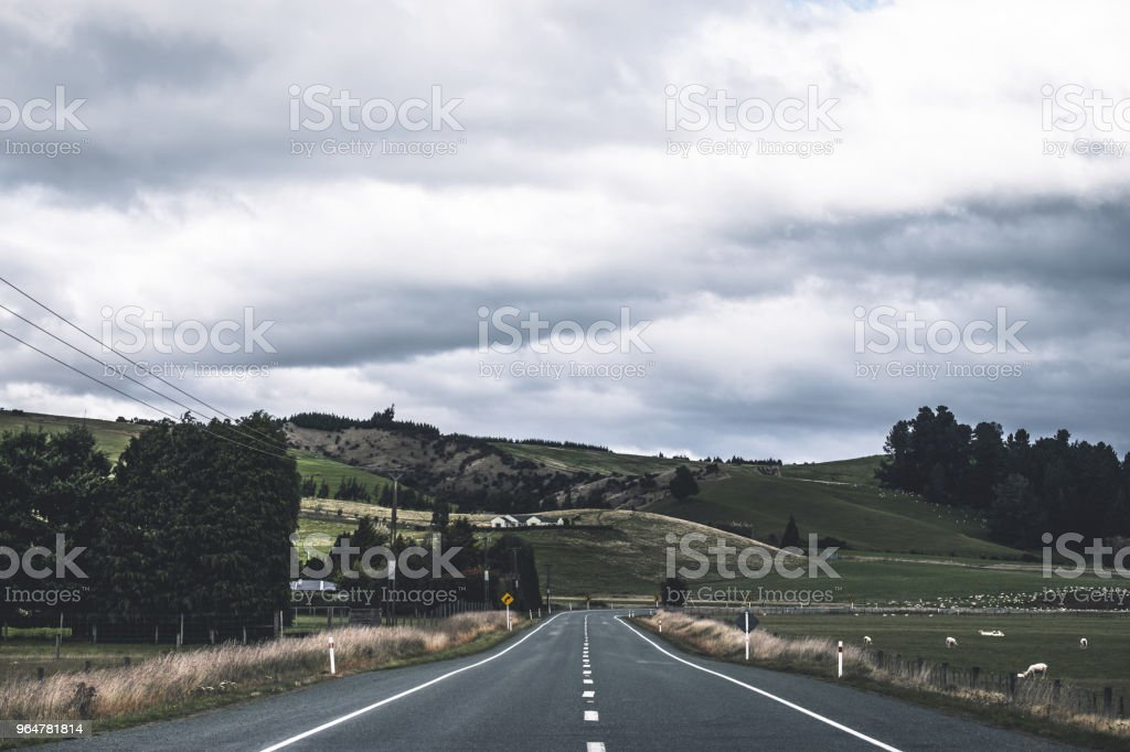 A stunning landscape scene of the agriculture in a rural area in New Zealand with green grassland beside the road in the cloudy day. royalty-free stock photo
