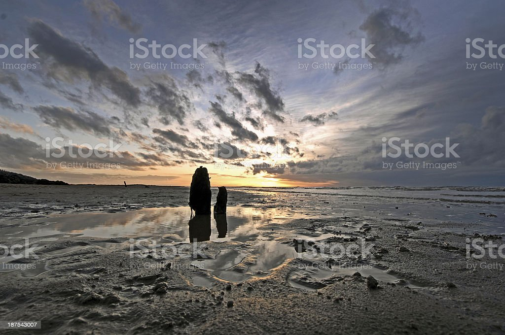 Stunning landscape, seascape, Sunset, Wells-next-the-Sea beach, Norfolk royalty-free stock photo