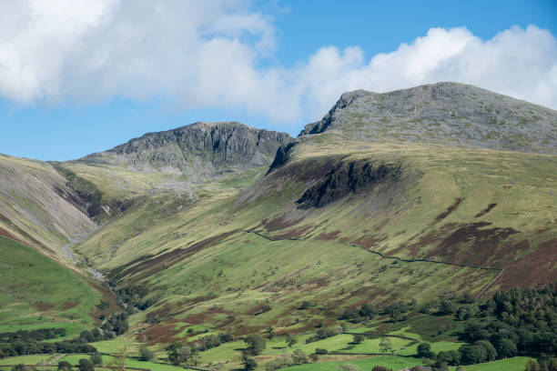 Stunning late Summer landscape of England's highest mountain, Scafell Pike in the stunning Lake District stock photo