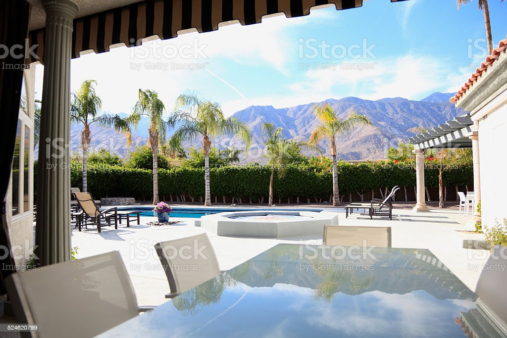 Stunning Luxury California Outdoor Living With Reflections stock photo