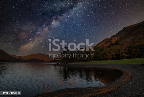 Beautiful epic digital composite landscape of Milky Way over Buttermere in Lake District