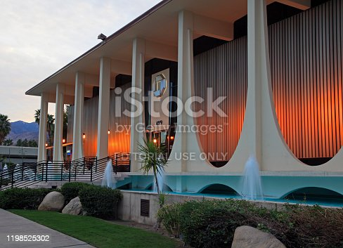 March 5,2014- Palm Springs, California USA: Exterior of Chase Bank. Originally Coachella Savings and Loan. Beautiful Water and Lighting Features. Mid 20th Century Architecture.