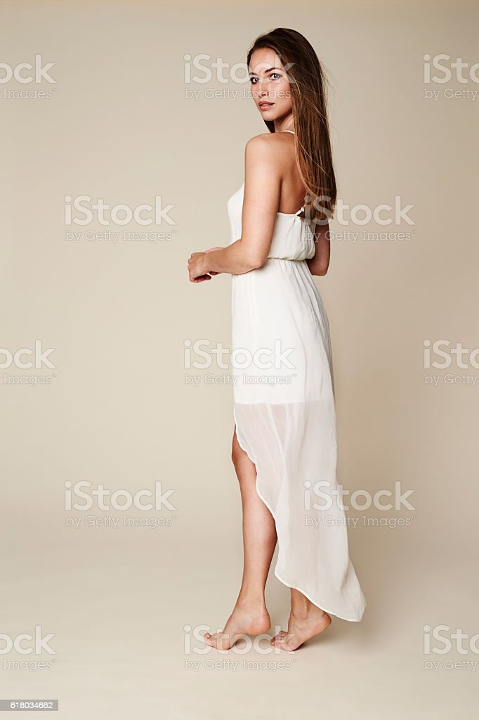 Stunning model in white stock photo