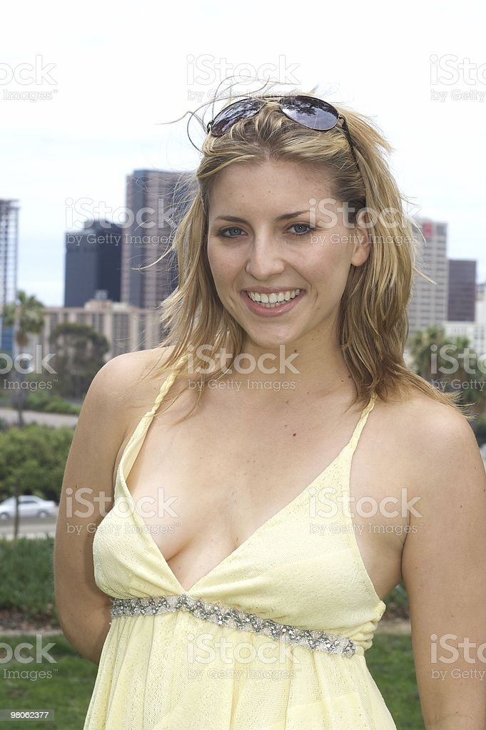 Stunning Model with City Background royalty-free stock photo