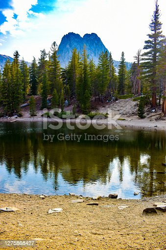 Stunning tall mountain peak and fir trees reflecting in clear alpine lake