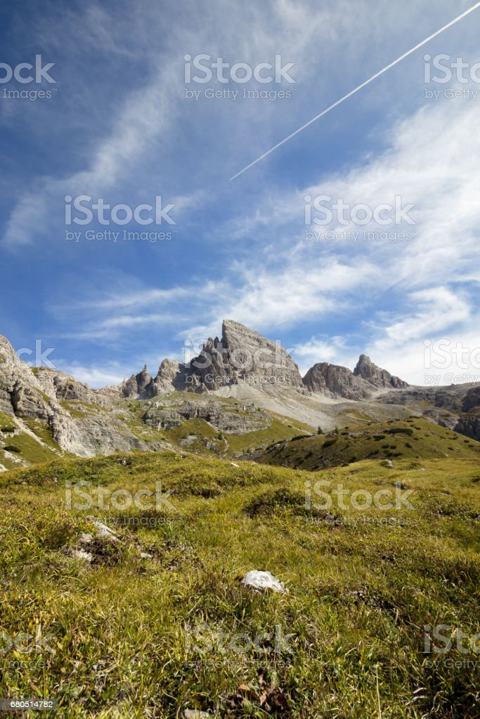 Stunning mountain scenery and blue skies clear weather. The mountain is Monte Paterno, Parco naturale Tre Cime. stock photo
