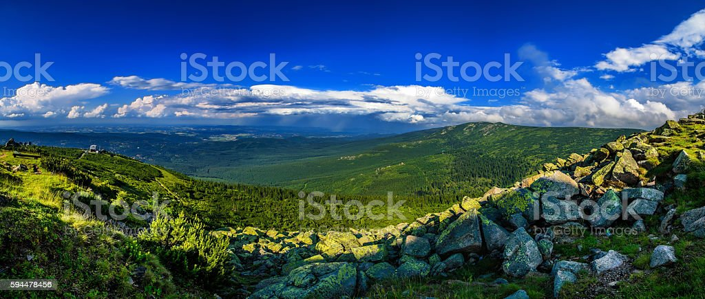 Stunning mountains panorama in the evening stock photo