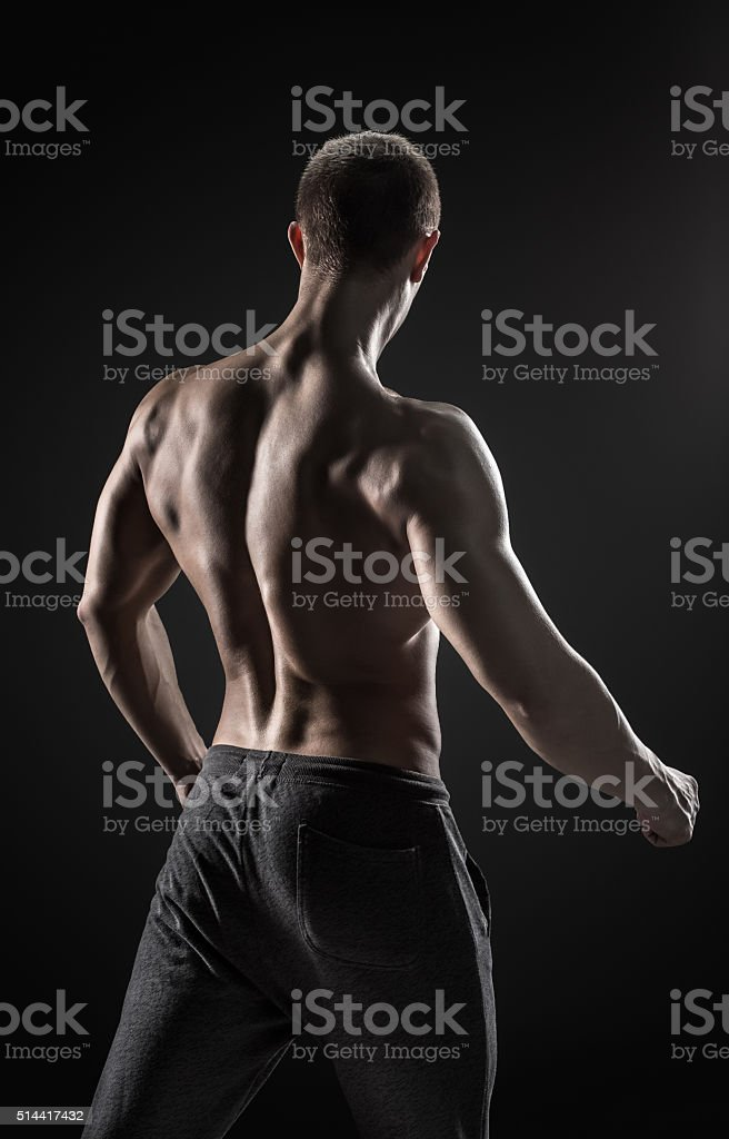 Stunning Muscular Man Fitness Model Torso Showing Muscles Back Stock ...
