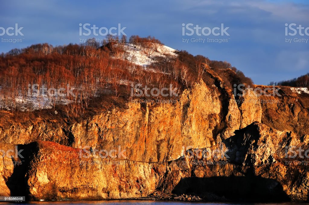 Stunning natural rock gate in Russia stock photo