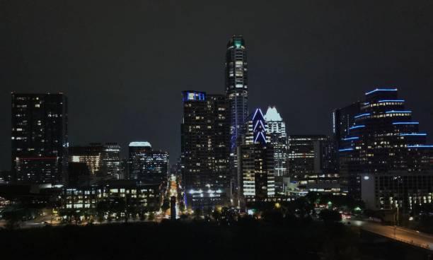 Stunning Night-time Skyline of a Large Metropolis/City stock photo