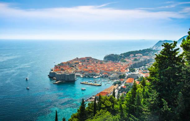 Stunning panorama of Dubrovnik with old town and Adriatic sea,Dalmatia,Croatia,Europe stock photo