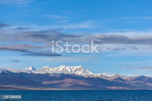 Stunning panorama view of Namtso Lake (Lake Nam, Tengri Nor) and western Nyenchen Tanglha Mountains on Qing Zang Plateau, summer sunny day with blue sky could in background, Tibet, China.