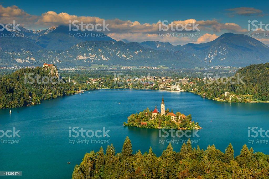 Stunning panorama,beautiful clouds and Bled lake,Slovenia,Europe stock photo