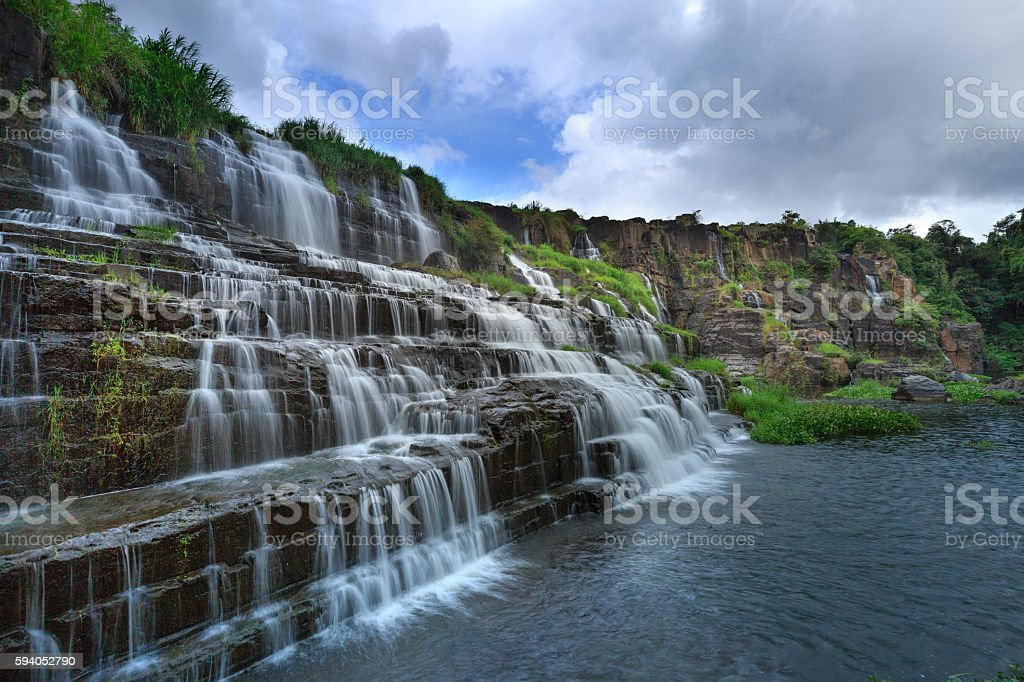 stunning Pongour waterfall in the rainforest stock photo