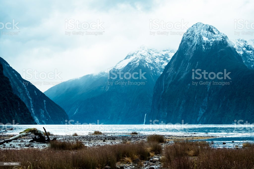 A stunning scene of the green nature and ford land at Milford Sound, New Zealand royalty-free stock photo