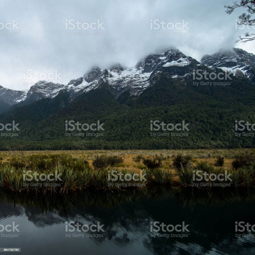 A stunning scene of the reflection of snow mountain and yellow grassland royalty-free stock photo