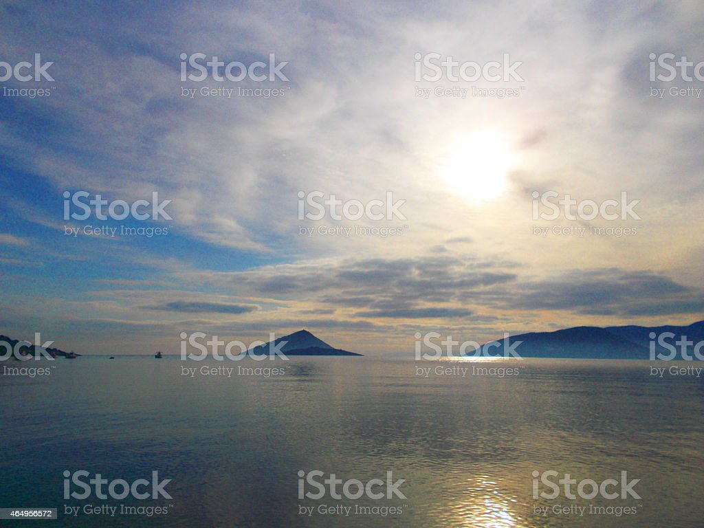 Stunning scenery : Calm sea and cloudy sky stock photo