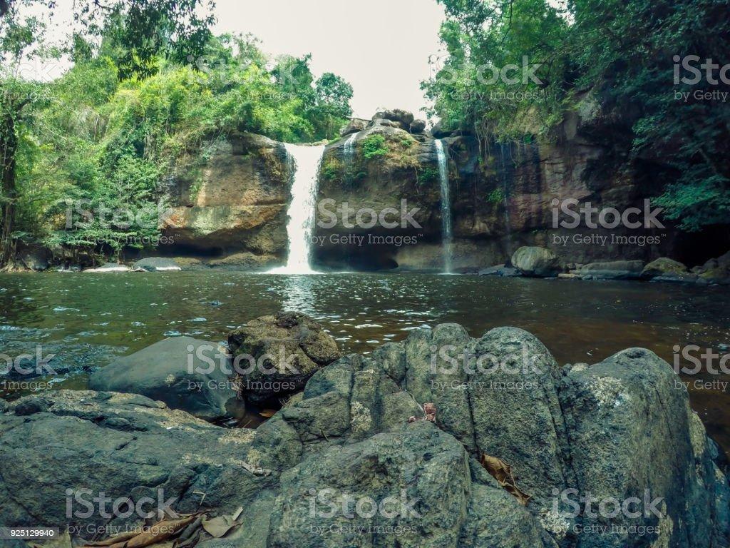 Stunning scenery of Haew Suwat Waterfall,Khao Yai National Park,Nakhon Ratchasima province,Thailand stock photo