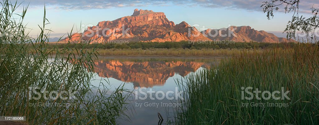 Stunning shot of Arizona Mountain and its reflection royalty-free stock photo
