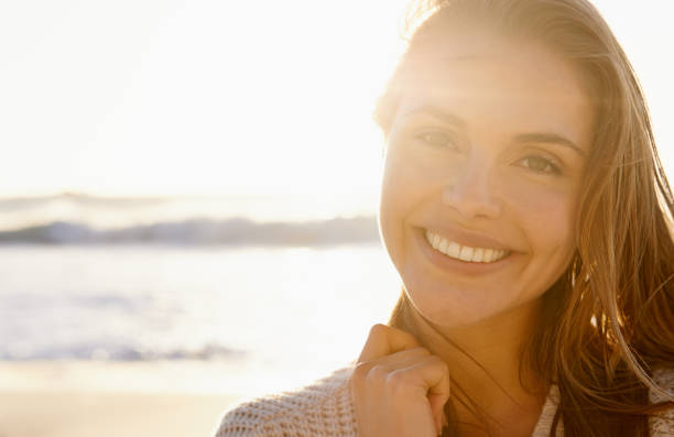 Stunning smile at sunset stock photo
