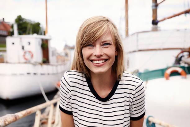 Stunning smiling blond stock photo