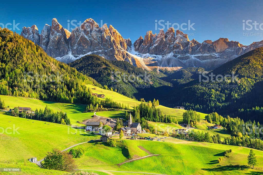 Stunning spring landscape with Santa Maddalena village, Dolomites, Italy, Europe stock photo