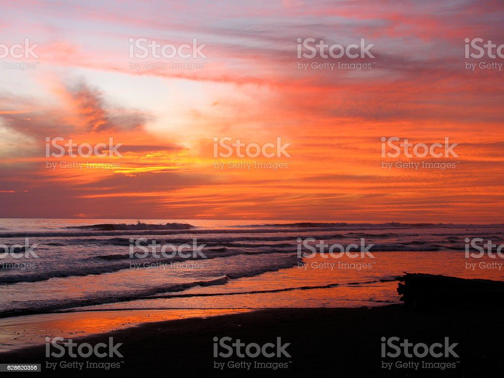 Stunning sunet at Dominical, Costa Rica stock photo