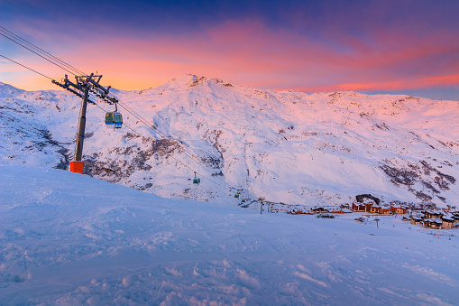 Stunning sunrise and ski resort in the French Alps,Europe