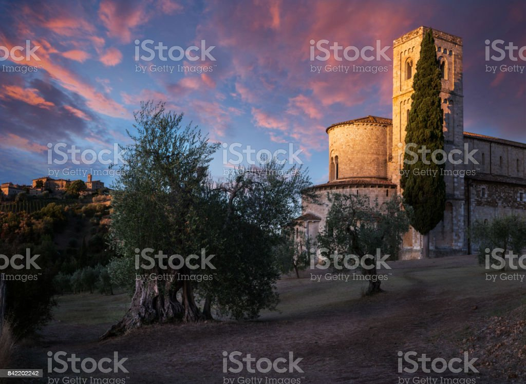 Stunning Sunrise between Village and Abbey stock photo