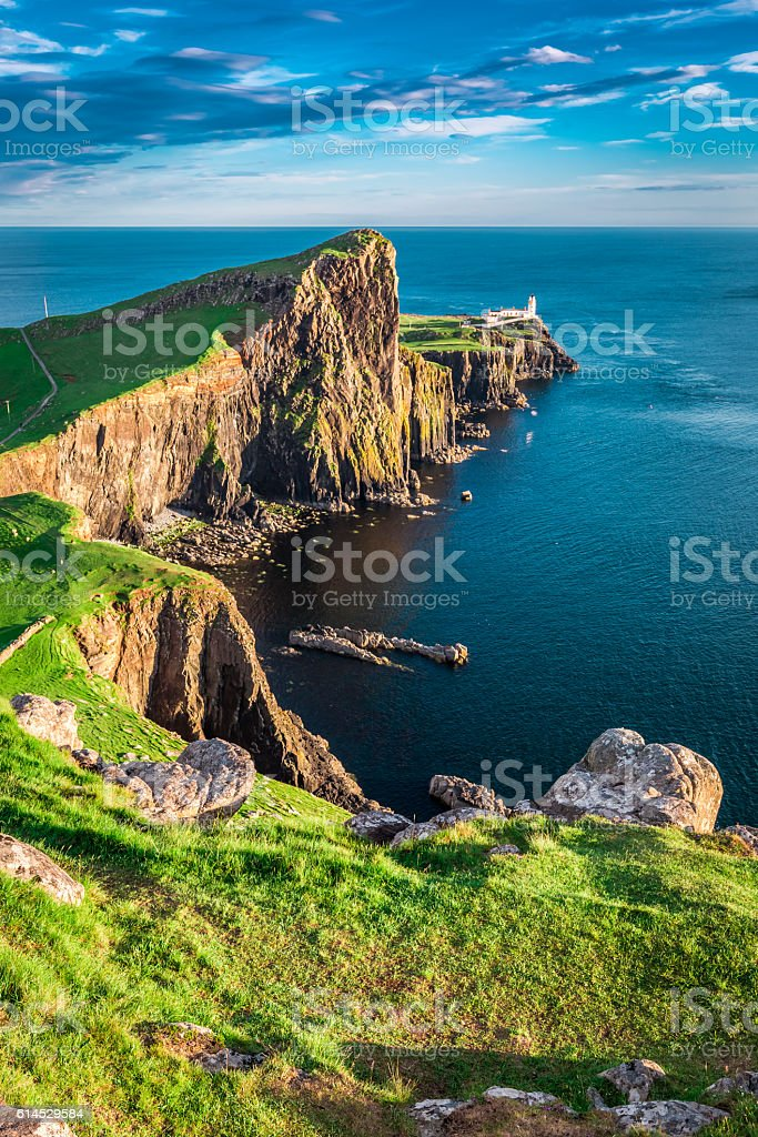 Stunning sunset at the Neist point lighthouse, Scotland stock photo