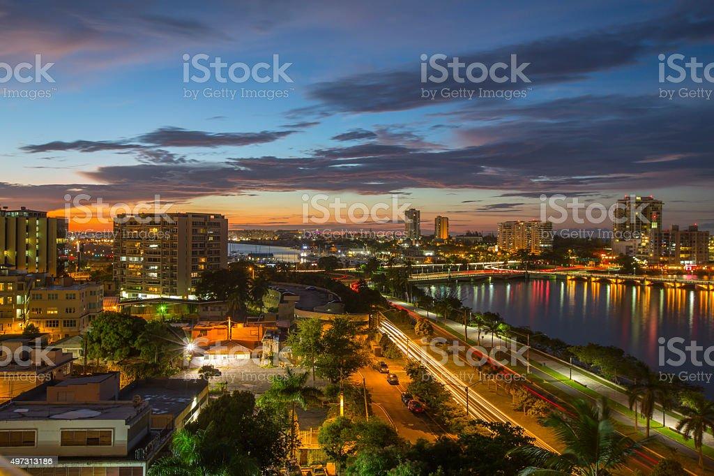 Stunning sunset in San Juan, Puerto Rico stock photo