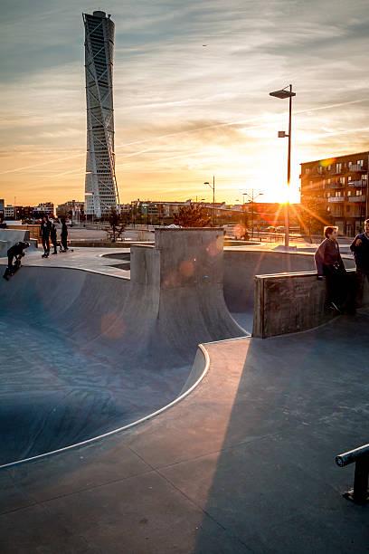 Stunning sunset in skatepark stock photo