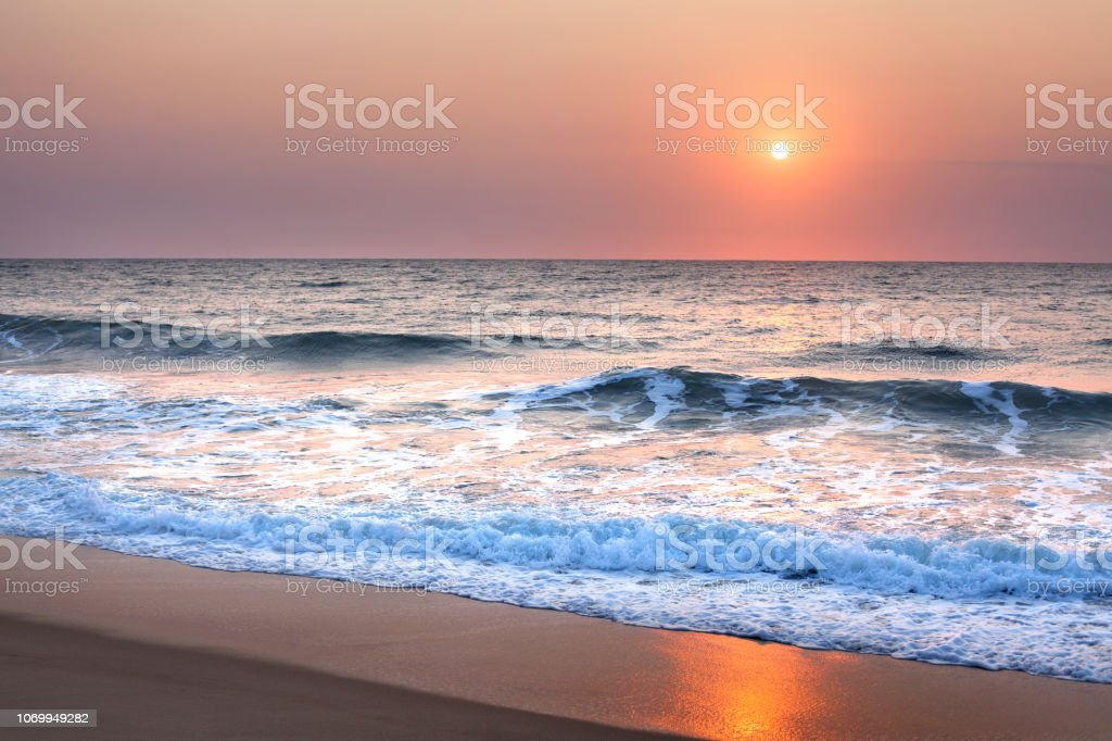 Stunning Sunset Or Sunrise Over The Sea Or Ocean On The
