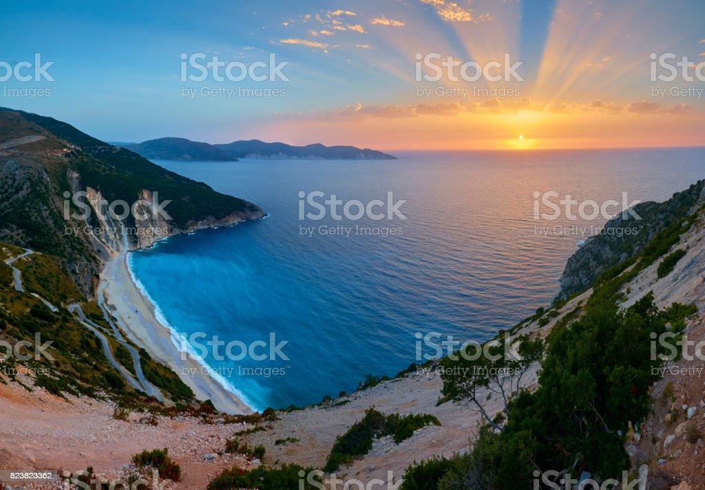 Stunning sunset over Myrtos beach stock photo