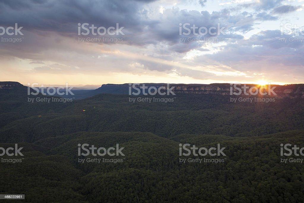 Stunning sunset view of the Blue Mountains, Australia stock photo